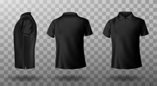 Men Black Polo Shirt Front And...
