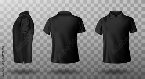 Foto Men black polo shirt front and back view