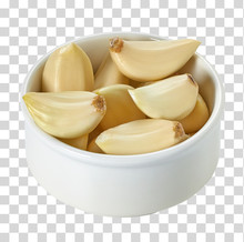 Garlic Cloves In Bowl From Top...