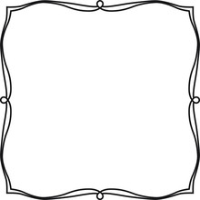 Classic Square Frame With Bends And Curves.