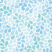 Vector Seamless Pattern With Blue Drops. Abstract Floral Background In Blue Tones. Stylish Monochrome Texture.