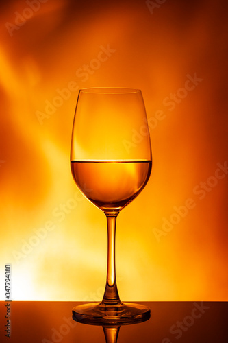 Glass of white wine on an orange background Canvas Print