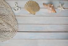 Sea shells, Anchor, Blue...