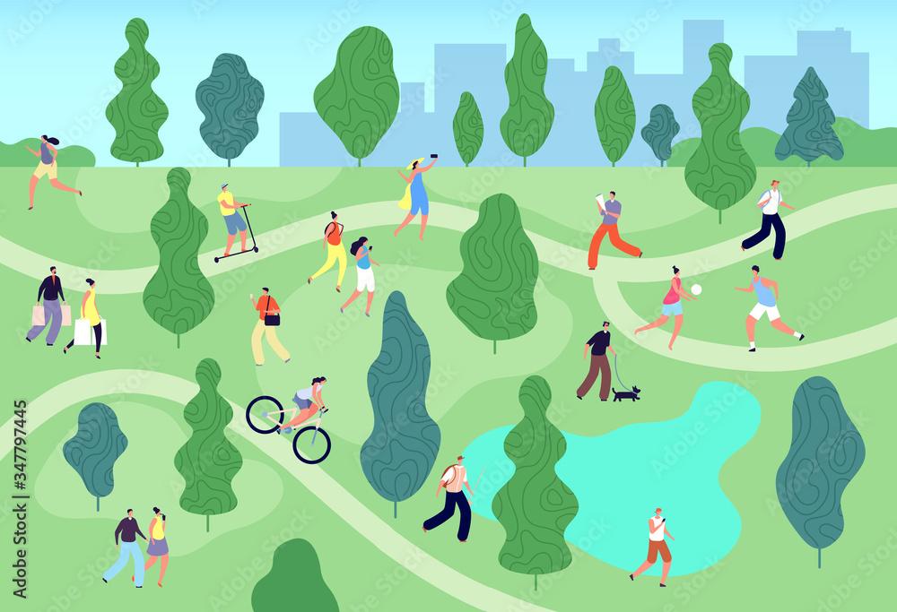 Fototapeta People in summer park. City green garden. Men women walking, relaxing and training, meeting, fishing. Outdoor activity vector illustration. Summer park sport lifestyle, people leisure