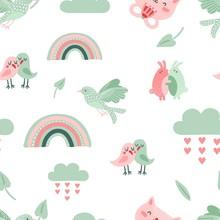 Cute Animal Pattern. Dove, Bir...
