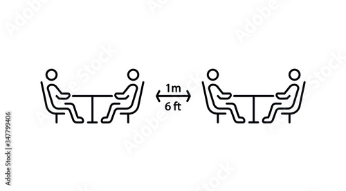Obraz Social distancing in cafe. Distance of 1 meter/6 ft between the tables in cafe or restaurant. Keep a safe simple thin line icon vector illustration - fototapety do salonu