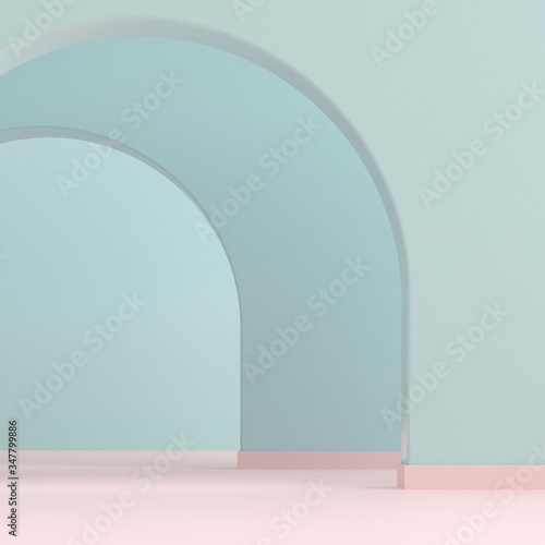 Photo Minimal style of arch interior space, Architectural details with shade and shadow on archway