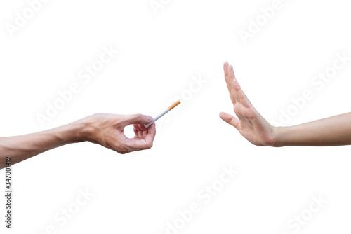 Valokuvatapetti Quitting smoking concept. Hand is refusing cigarette offer.