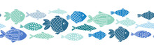 Blue Fishes Seamless Vector Bo...
