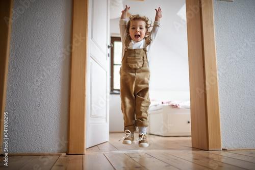 Obraz na plátně Small toddler girl jumping indoors at home, having fun.