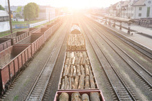 Freight Wagons With Stacks Of ...