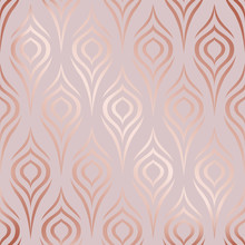 Rose Gold. Vector Seamless Pattern. Peacock Feather. Roses Golden Stylish Floral Texture. Abstract Marble Geometric Background. Flowers Design For Prints. Stylized Ditzy Ornament. Elegant Bird Plumage