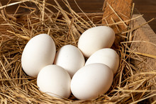 White Eggs In A Straw Nest In A Barn