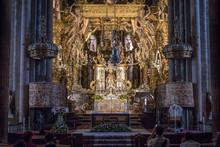 Santiago De Compostela Cathedral Inside Capital Of Galicia