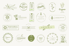 Set Of Labels And Stickers For Organic And Natural Products. Vector Illustrations For Graphic And Web Design, Marketing Material, Restaurant Menu, Food And Drink,  Packaging Design.