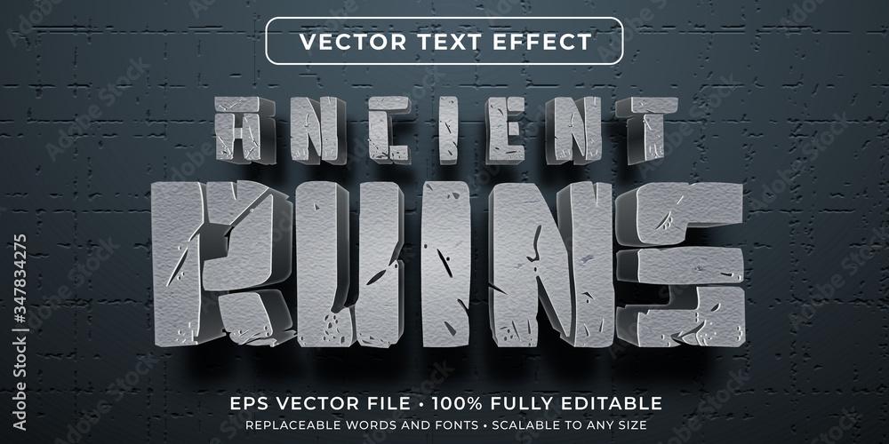 Fototapeta Editable text effect - ancient civilization ruins style