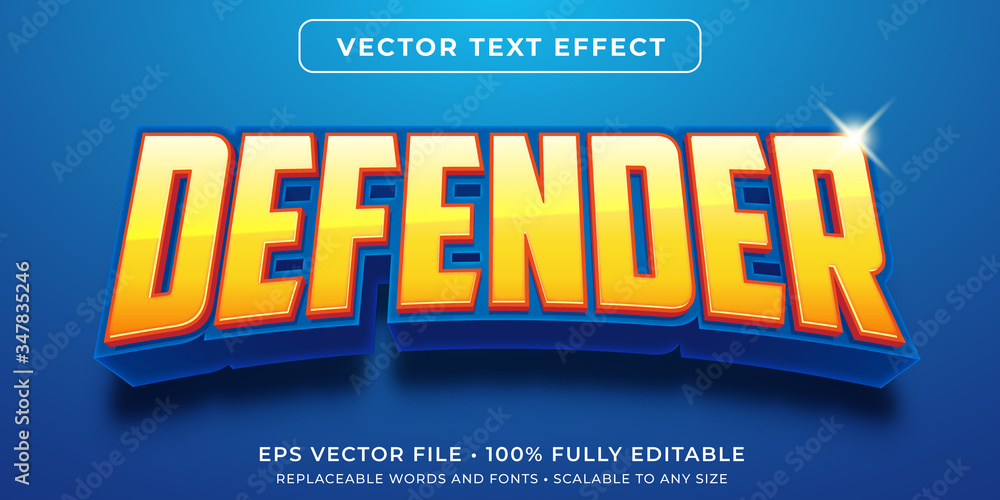 Fotografie, Obraz Editable text effect - hero game defender style