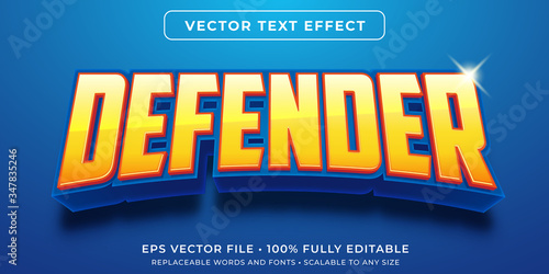 Fototapeta Editable text effect - hero game defender style