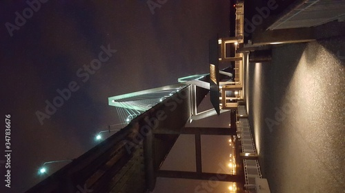 Low Angle View Of Arthur Ravenel Jr Bridge At Night Canvas Print