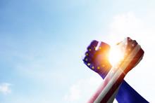 USA Flag And EU Flag Print Scr...