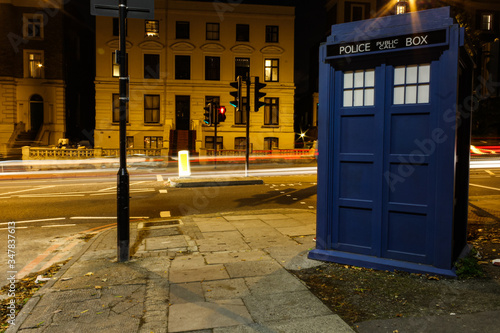 Police Blue Box, and time travel. Wallpaper Mural