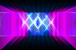 canvas print picture - 3d render, glowing lines, tunnel, neon lights, virtual reality, abstract background, square portal, arch, pink blue spectrum vibrant colors, laser show
