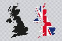 UK Solid Black Detailed Map Vector With British Flag