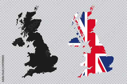 Canvas Print UK Solid Black Detailed Map Vector With British Flag