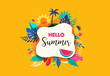 Hello summer abstract background, summer sale banner, poster design. Vector illustration