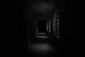 Empty Corridor Of Abandoned Building