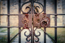 Old And Rusty Lock On Ornate, ...