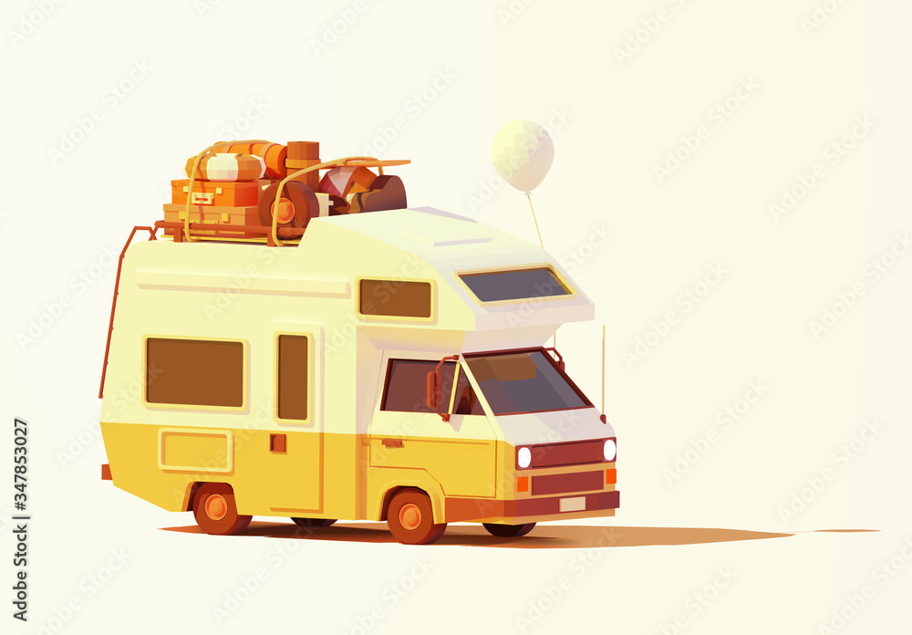 Fototapeta Vector retro camper van or RV illustration. Caravan loaded with luggage ready for road trip or travel to seaside. Classic motorhome or recreational vehicle