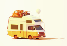 Vector Retro Camper Van Or RV Illustration. Caravan Loaded With Luggage Ready For Road Trip Or Travel To Seaside. Classic Motorhome Or Recreational Vehicle