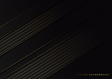 Abstract Stripes Golden Lines Diagonal Overlap On Black Background. Luxury Style.