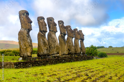 Ahu Akivi At Rapa Nui National Park Against Sky Canvas Print