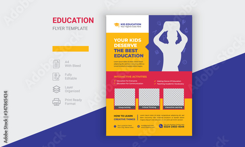 Kids Back To  School Education Flyer Design Canvas Print