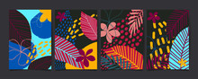 Set Of Abstract Floral Pattern...