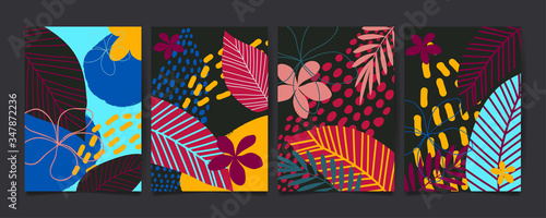 Slika na platnu Set of abstract floral pattern with tropical flowers and leaves