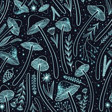 Seamless Pattern With Glowing ...
