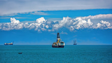 Drill Ships Anchored Near The ...