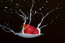 High Speed Photography With Flash.  Strawberry Falling Into A Spoon Full Of Liquid Cream Just As It Splashes