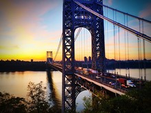George Washington Bridge Over Hudson River During Sunrise