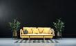 Leinwanddruck Bild - Minimal living room design and black concrete wall texture background