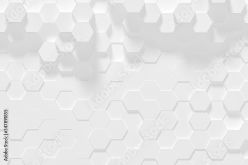 Fototapety, obrazy: Hexagonal white abstract background - 3d abstract hexagons rendering.