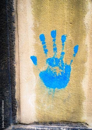 Fényképezés Handprint On Wall