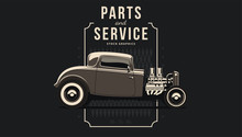 Classic Hot Rod Car In Vector. Vintage Style, Solid Colors.
