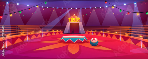 Photo Circus arena classic round stage under tent dome