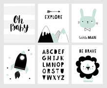 Nursery Posters For Baby Room, Cute Animals, Alphabet And Quotes In Scandinavian Style. Hand Drawn Vector Illustration For Prints, Cards, Apparel.