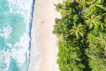 Seychelles Takamaka beach Mahe island copyspace symbolic picture nature vacation drone view aerial photo