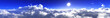 Leinwandbild Motiv Beautiful clouds, panorama of clouds, flying in clouds, the sun above the clouds, 3D rendering